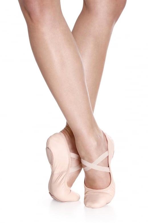 So Danca Chaussons de danse classique élastiques en cuir avec bi-semelle. ‹