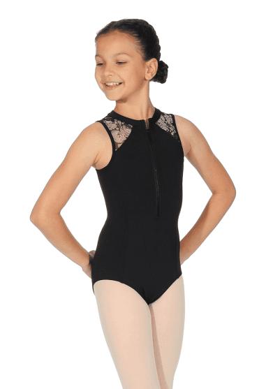 Girls  Zip Front Tank Leotard Nouveau. Noir · Bloch Justaucorps de danse  avec zip pour fille 229b6284415